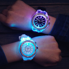 Luminous LED Children Watches Silicone Rubber Quartz Woman Man Wristwatch Glowin