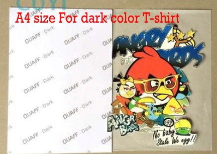 Inkjet dark color sublimation heat transfer paper for cotton T-shirt 100pcs A4 sizeInkjet dark color sublimation heat transfer paper for cotton T-shirt 100pcs A4 size