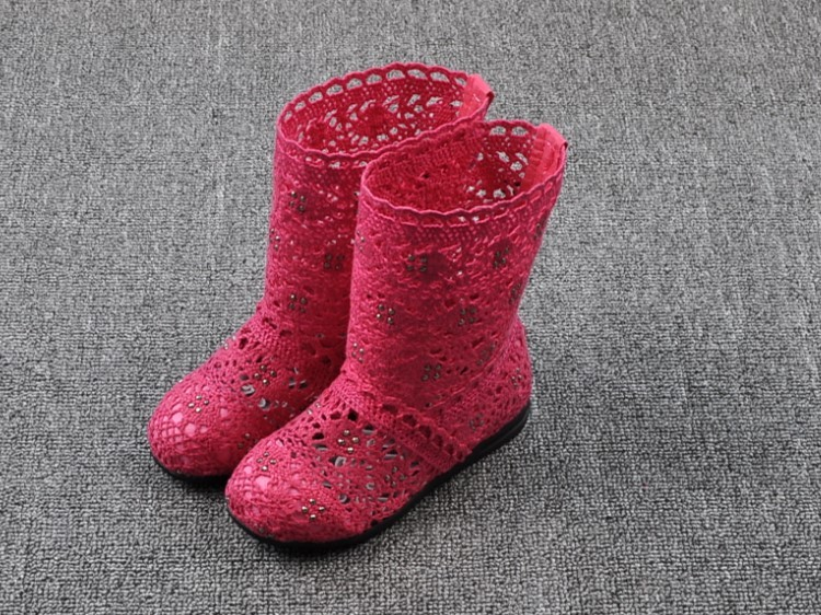 (A241)18 Classical Kids Shoes Summer Girls Boots Knitting Hollow Children Shoes Fashion Network Boots For Girls 13