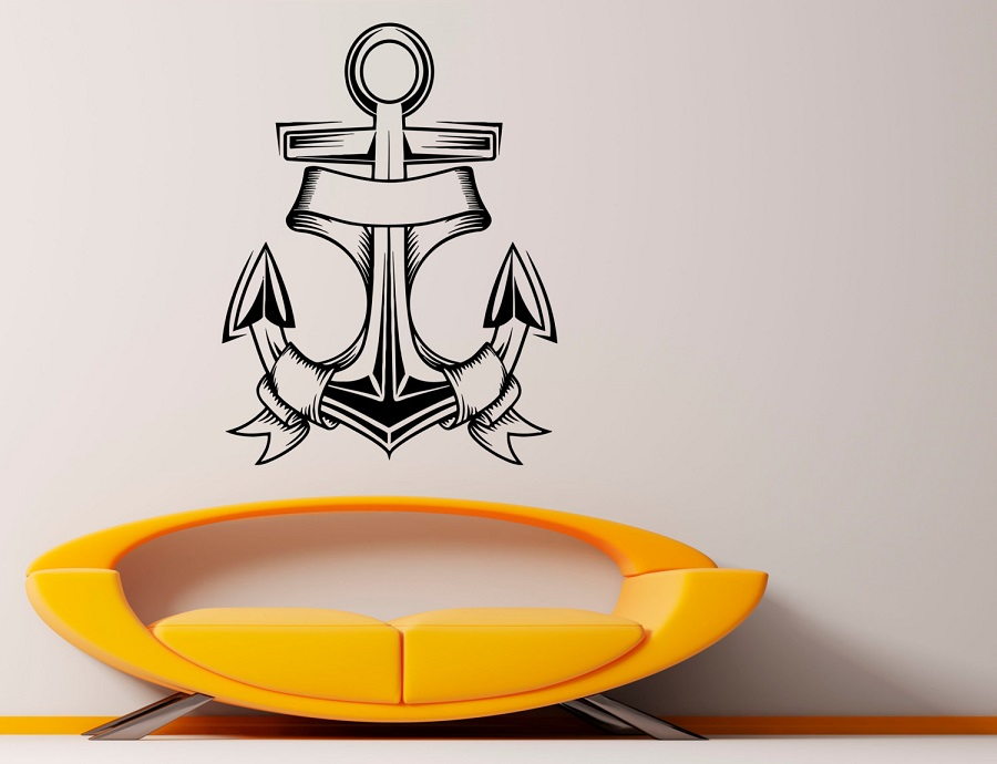 Nautical anchor vinyl wall sticker nautical enthusiasts indoor bathroom bathroom home decoration art wall decal 1HH11-in Wall Stickers from Home & Garden