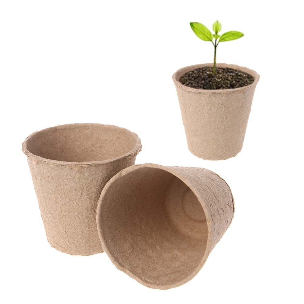 Tray Garden 50Pcs Round Biodegradable Paper Pulp Peat Pots Plant Nursery Cup Drop Shipping