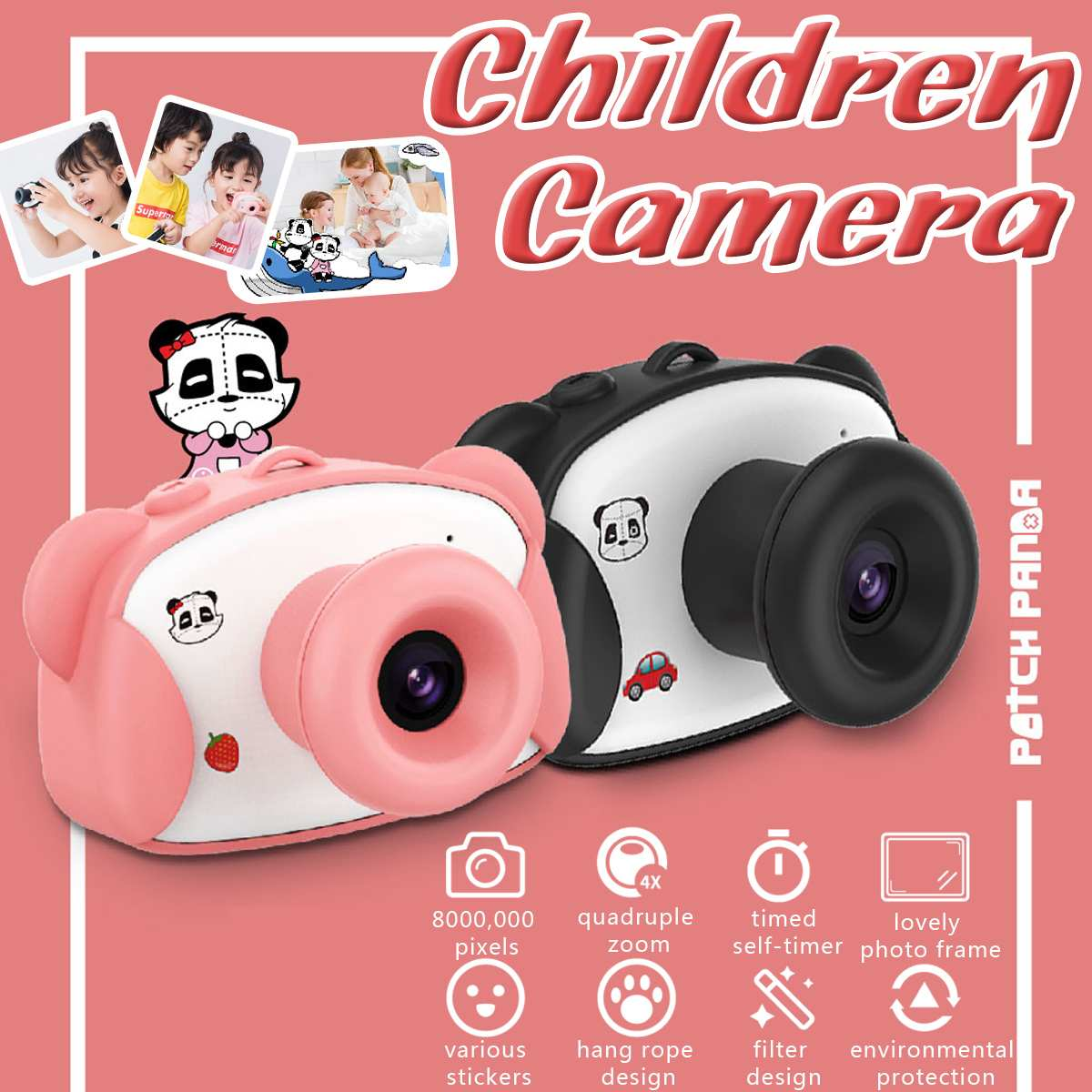 8.0MP 1.5 Inch HD Screen Kid Camera Toys Mini Lovely Panda Kids Anti-shake Digital Camera  With Cartoon Stickers Children Gifts
