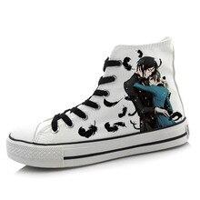 Hombres Mujeres Anime Negro Mayordomo Pintado A Mano Zapatos de Lona High-Top Muchachas de Los Zapatos de La Pintada de la Historieta de Cosplay Zapato Plano