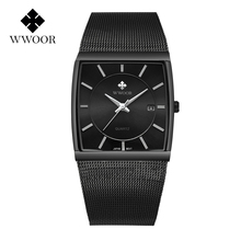 2019 Top Brand WWOOR Luxury Mens Square Quartz Watches Male Date Black Stainless Steel Mesh Business Sports Men Watch Free gift
