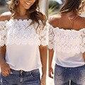 Moda T-Shirt Das Mulheres do Verão Rendas Colete Top Tanque Casual Tops Fora Do Ombro T-Shirt