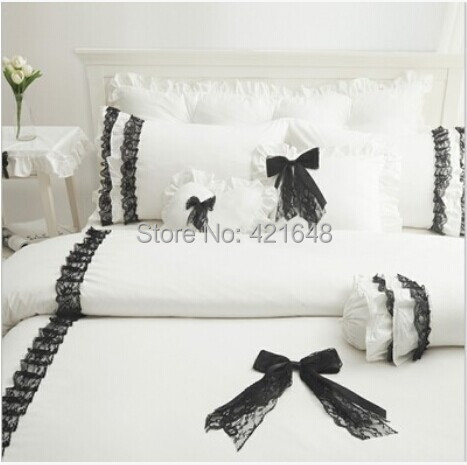 Black lace Korean white princess bedding set 3/4pcs for girls twin full queen size ruffle bed skirt bedclothes free shipping