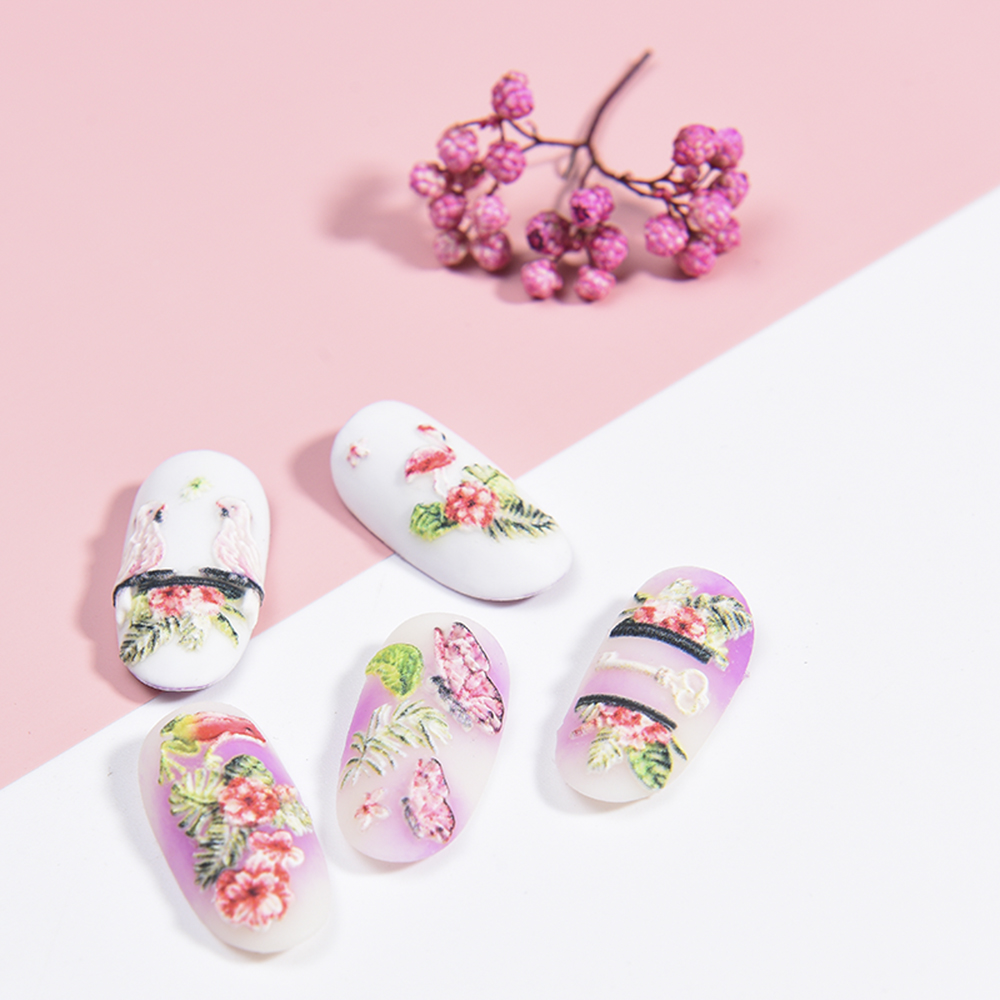 Image 2 - 3D Acrylic Engraved flower Nail Sticker blue flowers birds  Water Decals Empaistic Nail Water Slide Decals Z0165-in Stickers & Decals from Beauty & Health