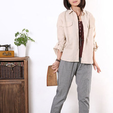 2015 women summer shirts casual cotton Linen long-sleeved shirt pocket large size women plus size blouses xxxxl 5xl 6xl
