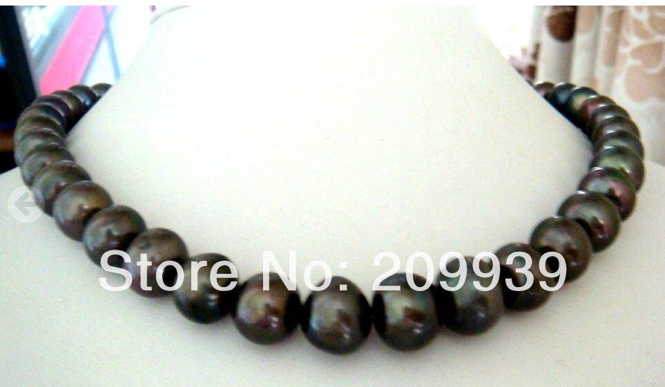 Huij 003251 près de ronde 12-15mm tahiti naturel noir perle collier 18''14KG