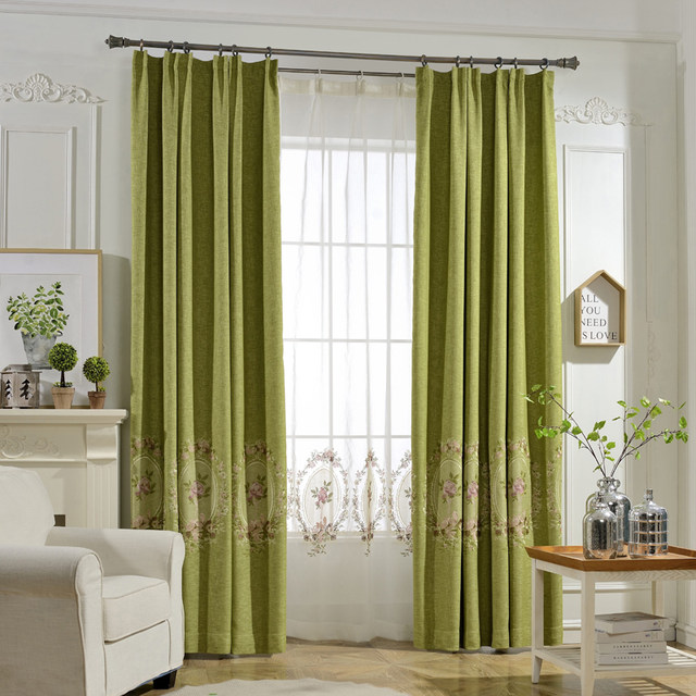 Elegant Thick Faux Linen Blackout Curtains For Living Room Plain Solid Color The Bedroom Green Blue Purple 30