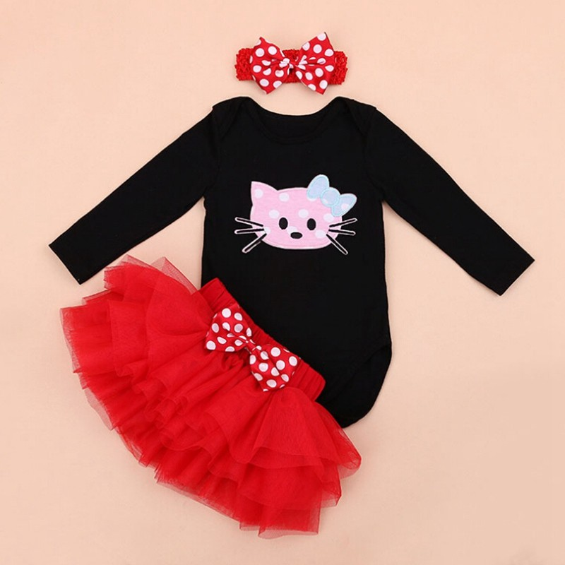 1fd6d4895148a Hello Kitty Baby Girl 1st Birthday Dress Infant Bodysuit Tutu Set Headband  Lace Skirt Valentines Dress Ropa De Bebe Kids Outfits-in Bodysuits from ...