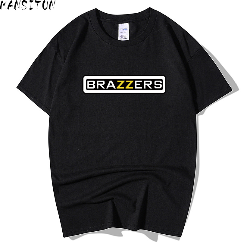 New Summer Men Brazzers printing   T     Shirt   Fashion Men Short Sleeve O Neck   T  -  Shirt   Cotton Hip Hop Rock Streetwear Men Clothing