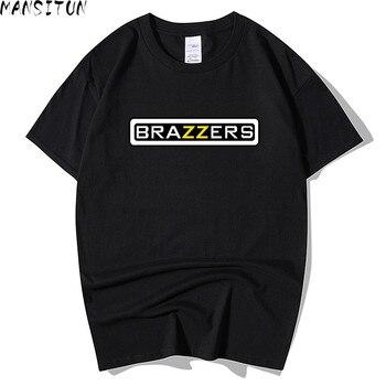 Nuevo verano hombres Brazzers impresión T camisa de los hombres de la moda de manga corta O Camiseta de cuello de algodón Hip Hop Rock Streetwear de los hombres ropa