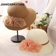 Delle Donne di estate grande fiore Cappello di paglia di Modo Pieghevole di  Ventilazione Cappelli da Sole Da Viaggio Anti-Uv Cap. 8e8d3741396a