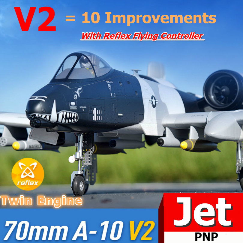 FMS RC Airplane 70mm A-10 A10 Warthog V2 Ducted Fan EDF Jet Twin Engine with Gyro Retracts 6S PNP Model Hobby Plane Aircraft EPO image