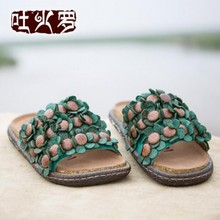 2016 newest original design high quality genuine leather women siippers flat heels casual flower women shoes