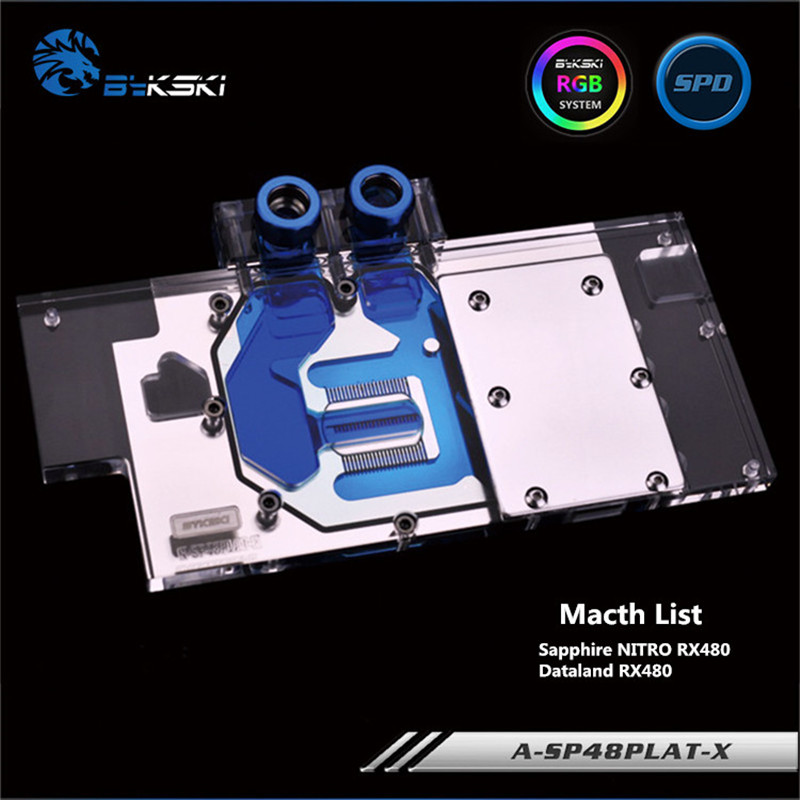 Bykski Full Coverage GPU Water Block For Sapphire NITRO RX480 / Dataland RX480 Graphics Card A-SP48PLAT-XBykski Full Coverage GPU Water Block For Sapphire NITRO RX480 / Dataland RX480 Graphics Card A-SP48PLAT-X