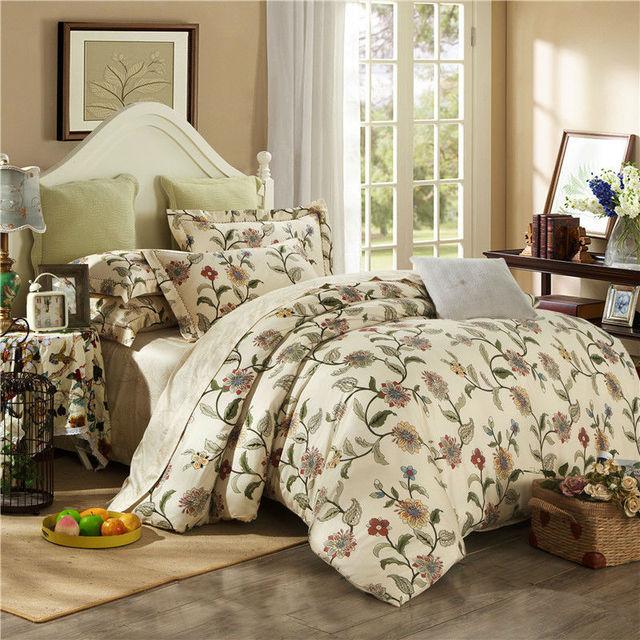 Благородный 4 шт. постельных принадлежностей 100% египетского хлопка одеяло/одеяло покрывает простыня постельное белье Наволочка король королева размер