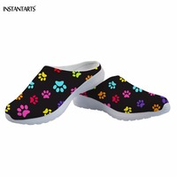 INSTANTARTS Colorful Animal Dog/Puppy Paws Pattern Women Summer Slip On Slippers Breathable Beach Shoes Adults Outdoor Sandals