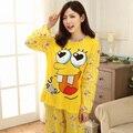 Горячие Продажи Женская Пижама Устанавливает 2016 Повседневная С Длинным Рукавом О-Образным Вырезом Леди Хлопка Пижамы Женщин Осень Пижамы Девушка Pattern Пижамы