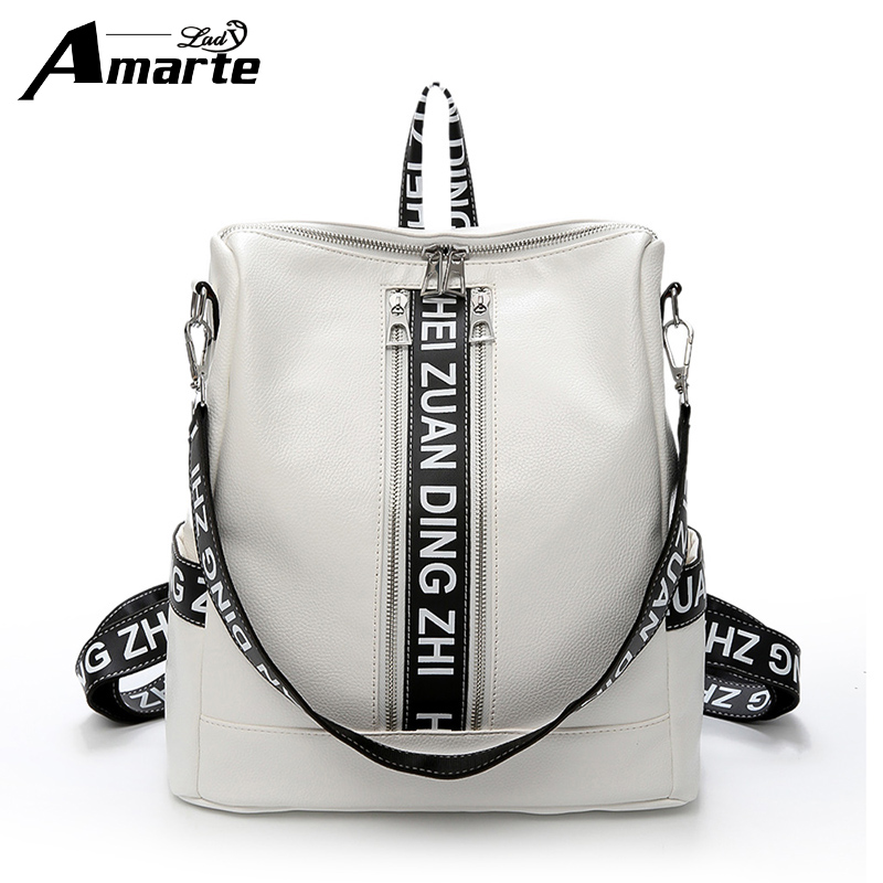 Amarte Women Leather Backpacks 2017 New Designletter Printing Backpack for Teenager Girls Fashion Casual Backpack Big School Bag