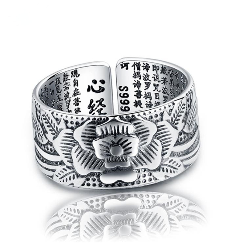 KOFSAC Thai 925 Sterling Silver Jewelry Open Ring Vintage Amulet Buddha Lotus Baltic Buddhist Scriptures Rings For Men Women