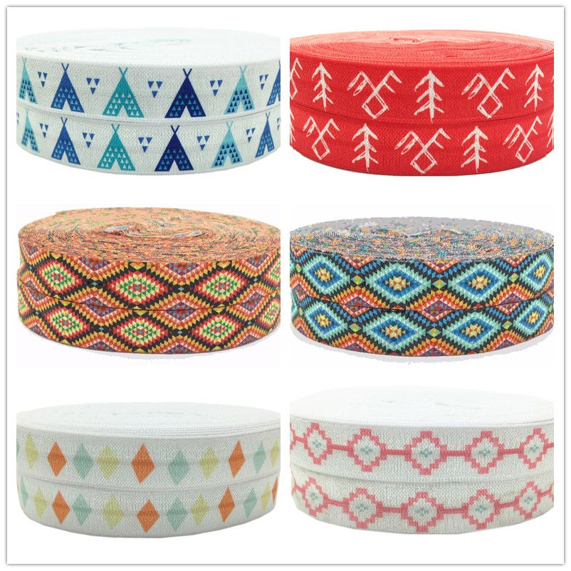 "white /& gold metallic Aztec tribal 5//8/"" fold over elastic FOE 1 yard Hot pink"