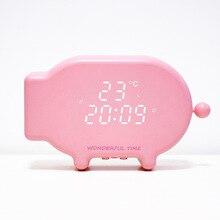 Cartoon bedroom pig alarm clock LED with temperature Night Clock Multifunctional USB charging light controlled night lamp