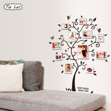 TIE LER DIY Family Photo Frame Tree Wall Sticker Home Decor Living Room Bedroom Wall Decals Poster Home Decoration Wallpaper(China)