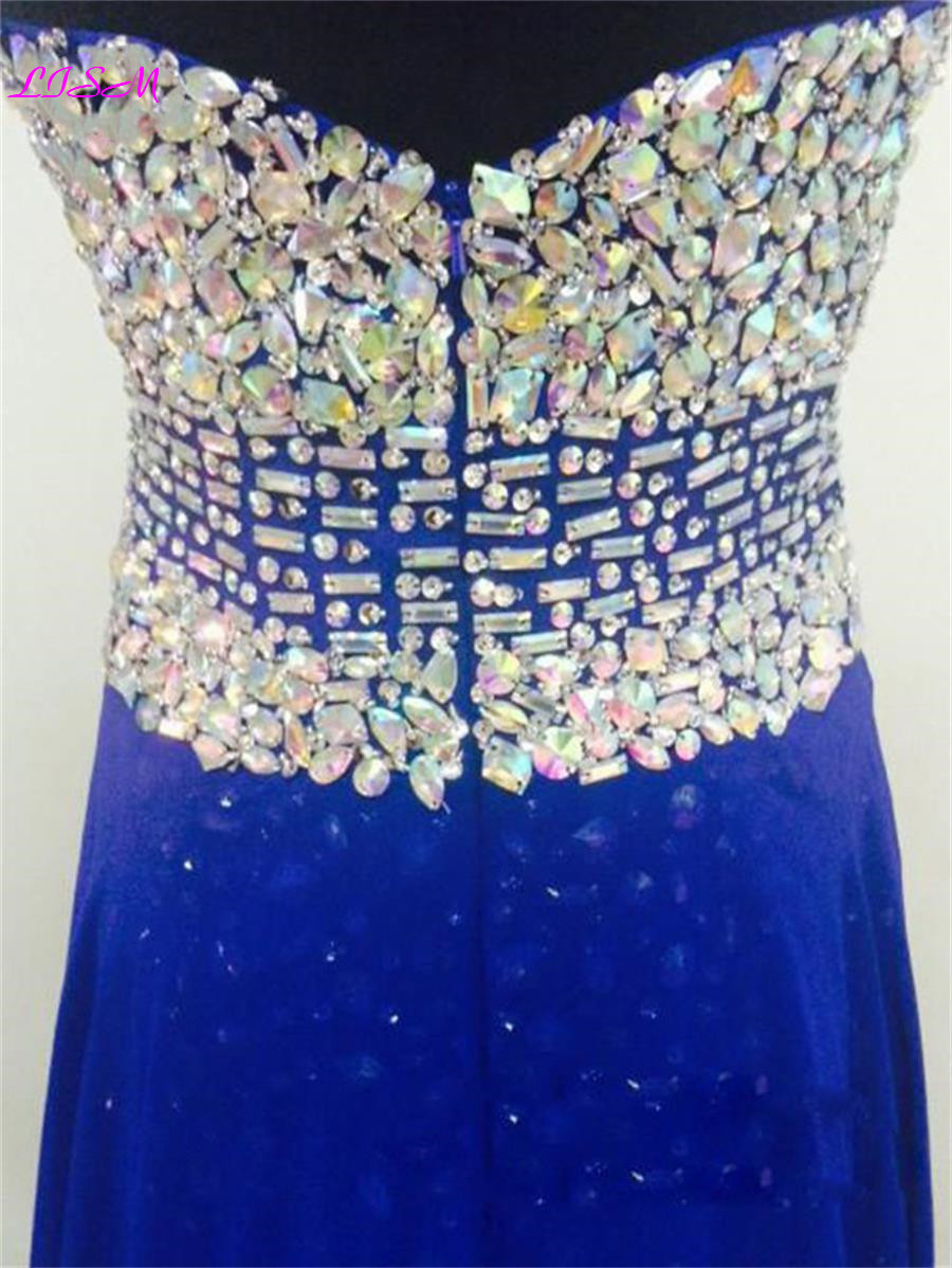 Luxury Crystals Beaded Long Evening Dresses Sexy Split Chiffon Evening Gowns for Women Royal Blue Sweetheart Long Prom Dress