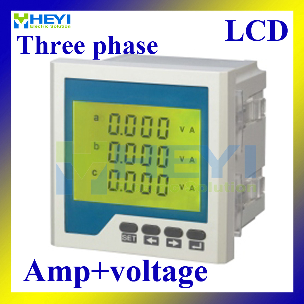Three phase digital Combined Meter AC voltage ampere meter  LCD HY-3UI series multi-meter three phase ac digital display intelligent current and voltage table zyx96 3ui two in one power meter