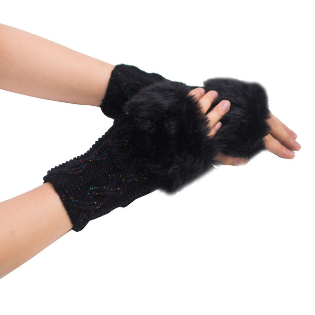 Fashion Women Girl Warm Winter Faux Rabbit Fur Wrist Fingerless Gloves Mittens