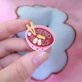 Różowy japoński makaron emalia Pin Cute Cartoon miska do ramenu pałeczki broszki koszula dżinsowa kołnierz plakietka na klapę biżuteria prezenty