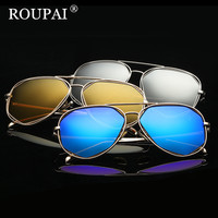 ROUPAI 2017 New Fashion Vintage Sun Glasses Women Brand Designer Polarized Sunglasses Female Metal Frame Pink