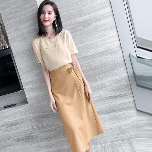 Femininas 2019 New Summer Fashion Korean Treino Elegant Bow Casual Letter Conjunto Feminino Brief High Waist 2 Pcs Set