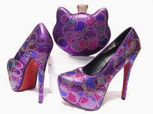 New Light Purple Shoes and Bag To Match Italian Fashion African Style Shoes and Bag Set