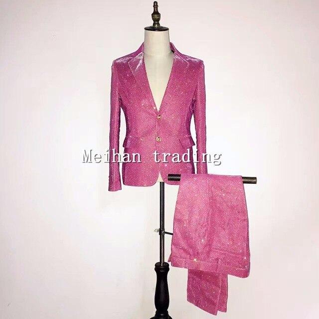 507e7507 Plus size S-4XL Korean Version Men's Rose Suits Set Male Singer Sparkly  Skinny Blazer