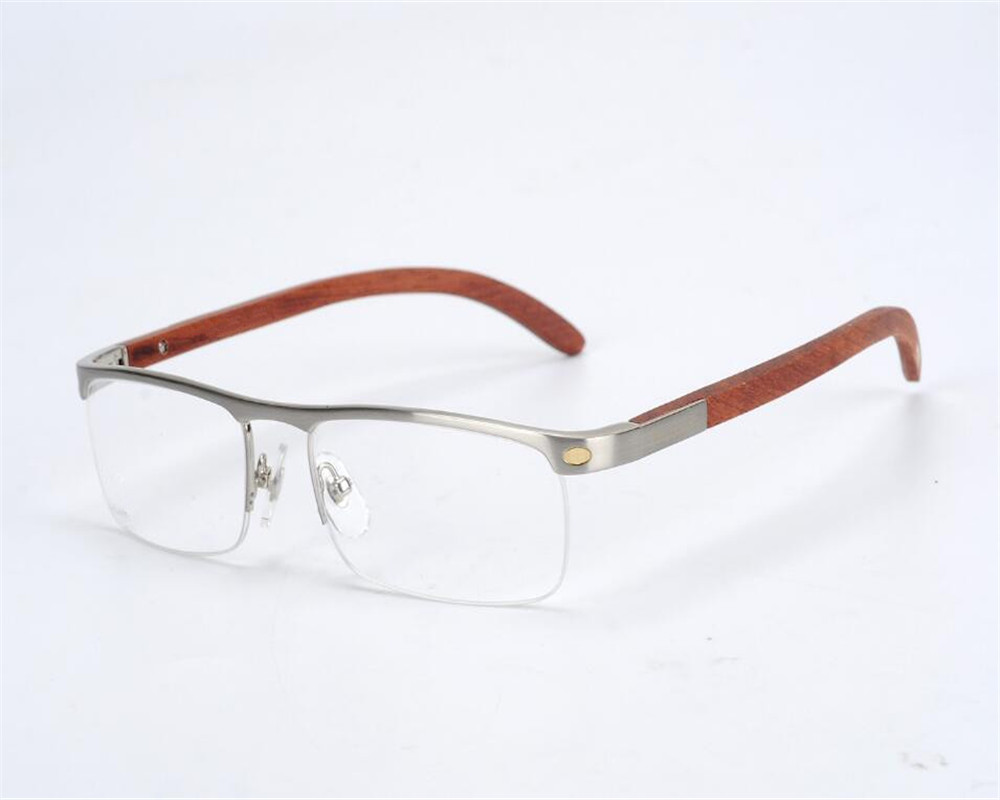 Bright Eyewear Myopia Eyewear Business Design Men Half Rim Alloy Handmade Wooden Temple Silver Uv Protection Optical Eyeglasses Frame A Great Variety Of Goods Apparel Accessories