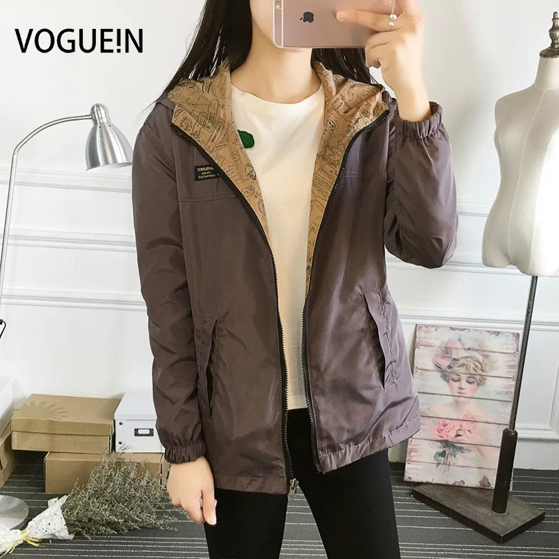VOGUE!N New Womens Ladies Casual Hooded Coat Two-In-One Reversible   Basic     Jacket   Coat Thin Outerwear 6 Colors 4 Sizes