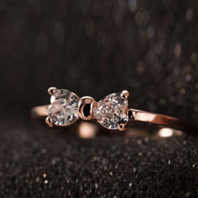 CZ кольца С Бриллиантами Позолоченные палец Лук кольцо обручальное Кристалл Циркона Кольца Ювелирные Изделия Женщины Кольцо G27