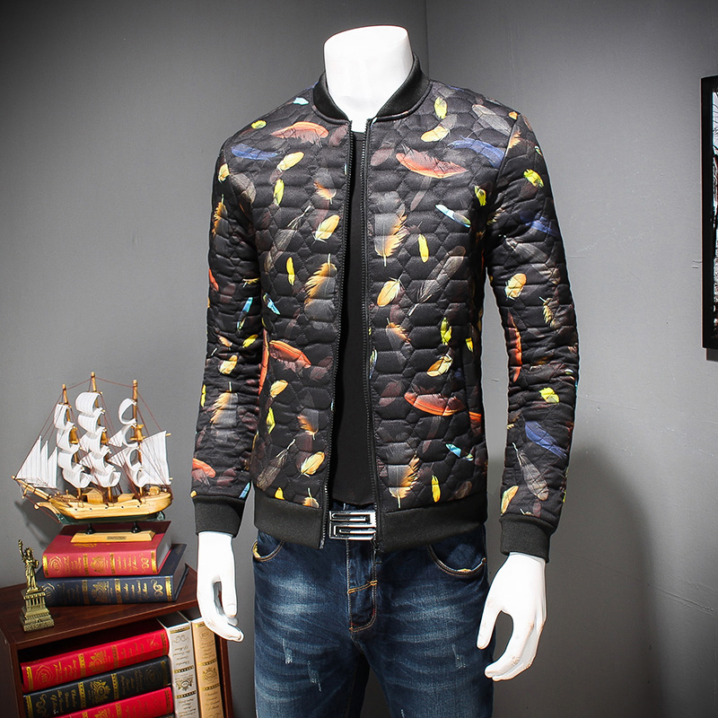 ФОТО  New Winter Jackets Men Stand Collar Print Feather Cotton Down Jacket Brand Plus Size 3XL 4XL 5XL Men Winter Coat Men Jacket