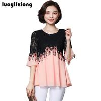 Luoyifxiong Plus Size L 5XL Womens Tops And Blouses Sweet Lace Flower Embroidery Chiffon Blouse Casual