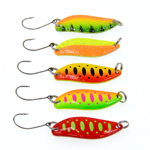 5Pcs Spoon  3.5g Single Hook Multicolor Metal stream Fishing Lures Trout