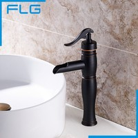 Free Shipping Wholesale And Retail New Deck Mounted Bamboo Shape Basin Sink Faucet ORB Black Bathroom Mixer Tap
