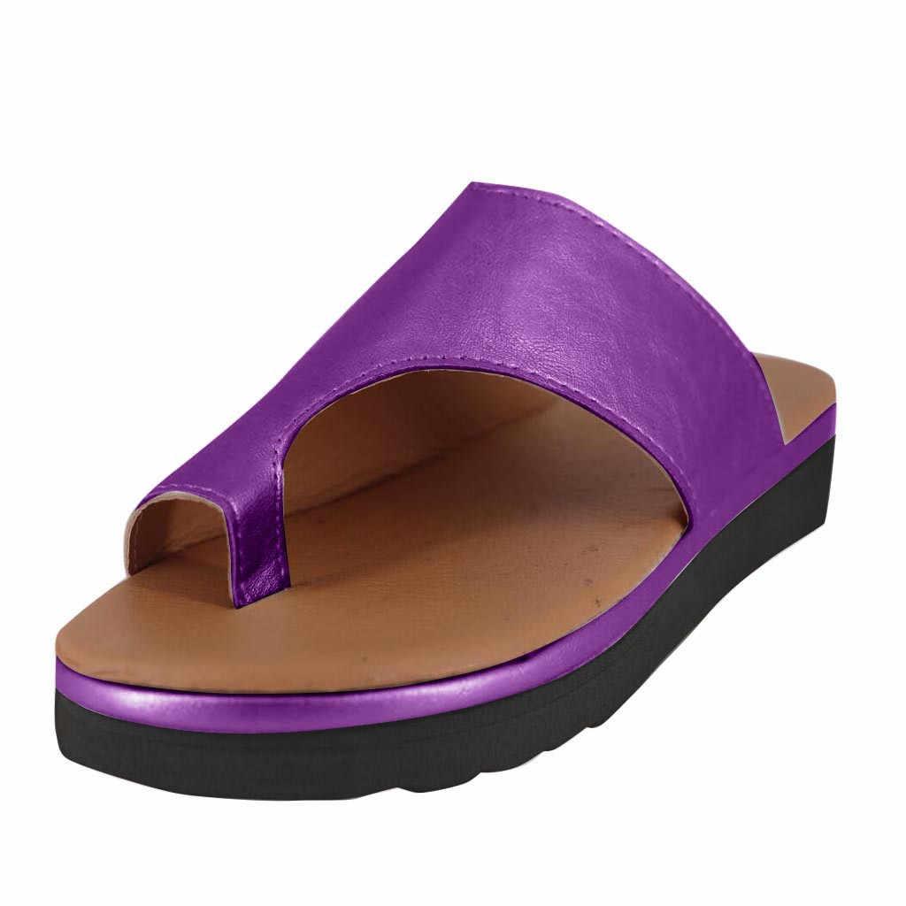 Kadın PU deri ayakkabı rahat platformu düz taban bayan rahat yumuşak büyük ayak ayak düzeltme sandalet ortopedik Bunion düzeltici 6J12