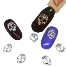20 Stücke Silber Schädel Gold Nail art Dekorationen Metall 3d Nagel Charms Dekor Bijoux Bling Rock NailArt Liefert Steam Punk Design