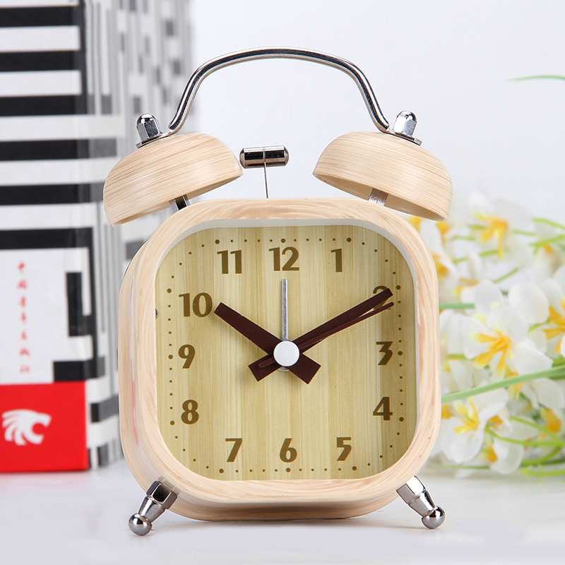 M.Sparkling digital alarm clock bamboo pattern silent bedroom desk table clock snooze function living room child clock