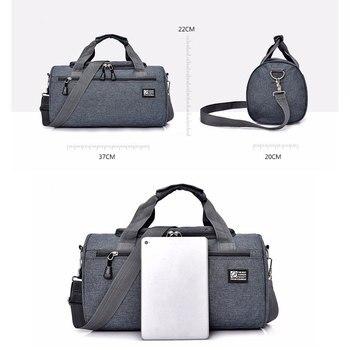 Scione Men Travel Sport Bags Light Luggage Business Cylinder Handbag Women Outdoor Duffel Weekend Crossbody Shoulder Bag Pack 2