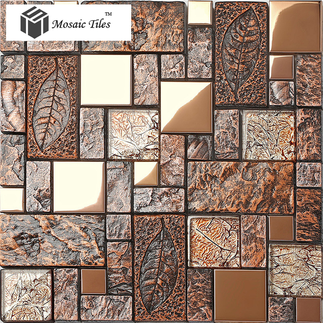 Wandfliese deco mosaikkunst fossil blatt harz glas folie porzellan ...