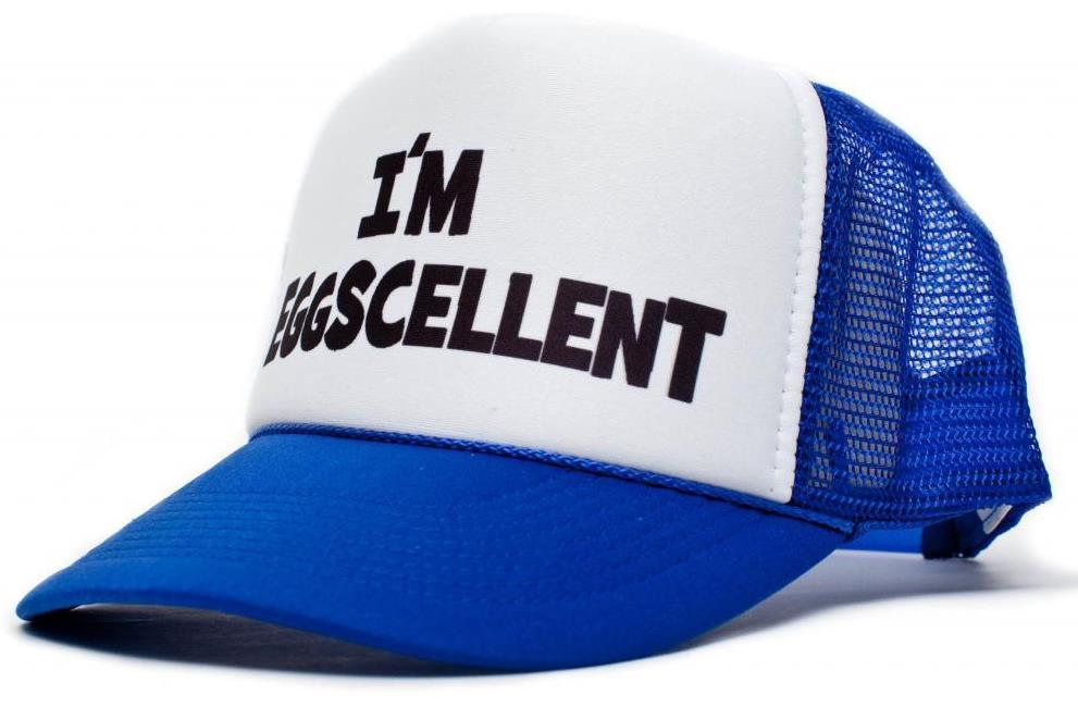 I'm Eggscellent Letters Print   Baseball     Cap   Trucker Hat For Women Men Unisex Mesh Adjustable Size Blue Drop Ship M-76